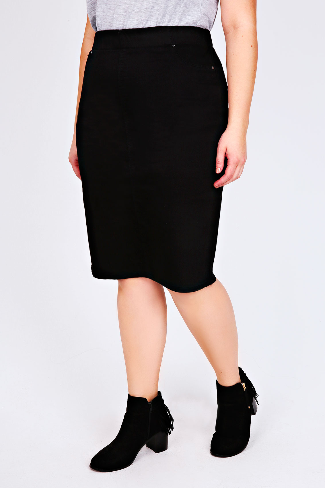 black denim pull on pencil skirt plus size 16 18 20 22 24