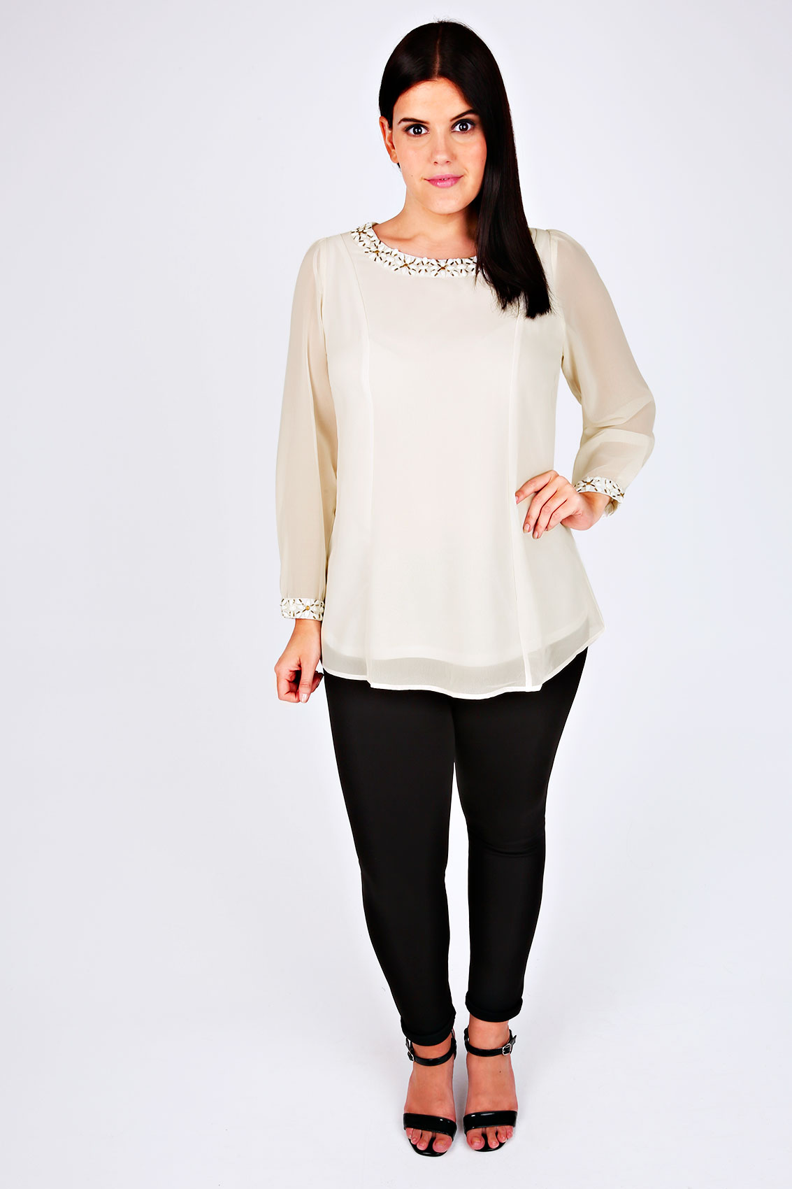 Long Cream Blouse 57