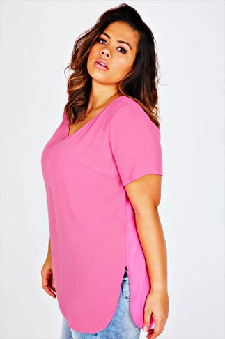 Pastel Pink V-Neck Chiffon Top With Pleat Back And Dipped Hem