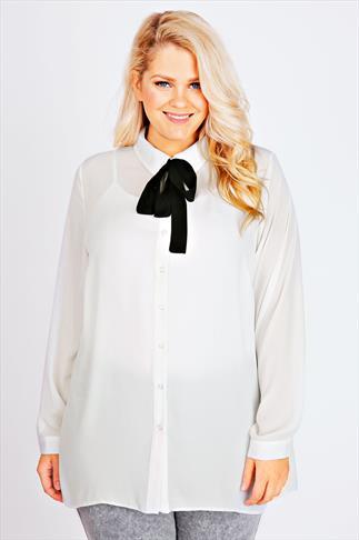Ivory Chiffon Shirt With Black Neck Tie