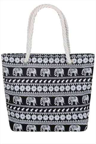 Black & White Elephant Print Beach Bag