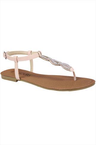 Nude Jewel Trim Wide Fit Sandal