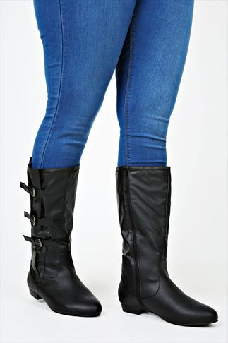 Black Knee High Boots With Three Buckles And Stretch Panel In EEE Fit