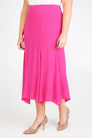 Pink Crinkle Viscose Panelled Maxi Skirt With Flare To Hem
