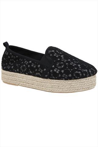 Black Crochet Flatform Espadrille In Wide Fit