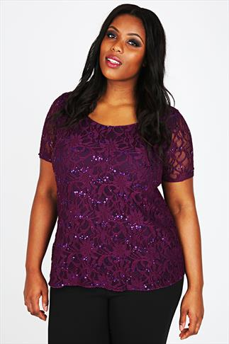 Purple Lace Top With Sequin Embellishment