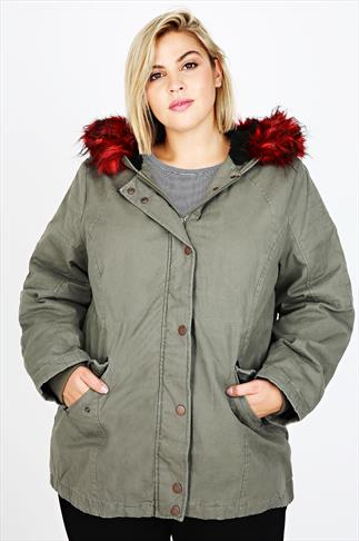 Khaki Parka Coat With Contrasting Red Fur Hood