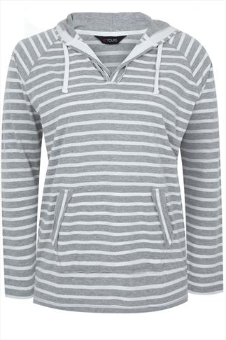 Grey And Cream Stripe Hooded Top With Two open Pockets