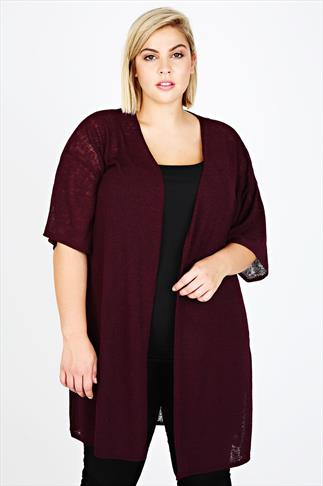 Wine Longline Knitted Cardigan With Short Sleeves