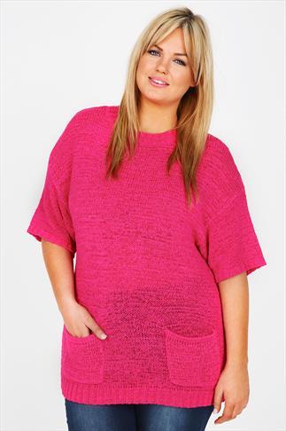 Fuschia Pink Batwing Knitted Jumper