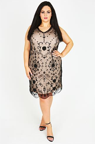 Black And Nude Embellished Sleeveless Shift Dress
