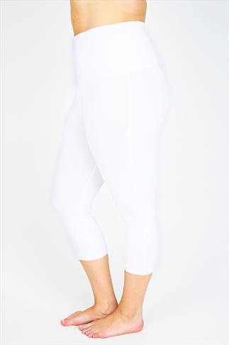 White TUMMY CONTROL Cropped Leggings