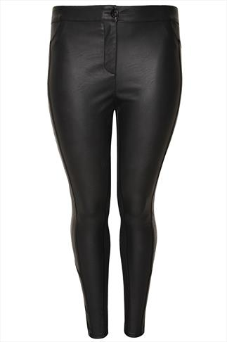 Black PU Panelled Ponte Roma Trousers
