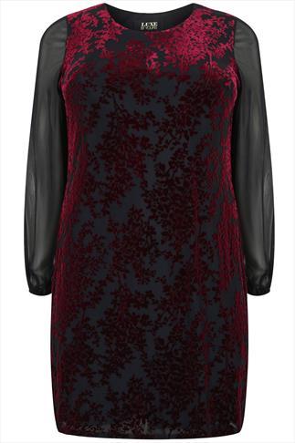 Black & Maroon Velvet Shift Dress With Mesh Sleeves
