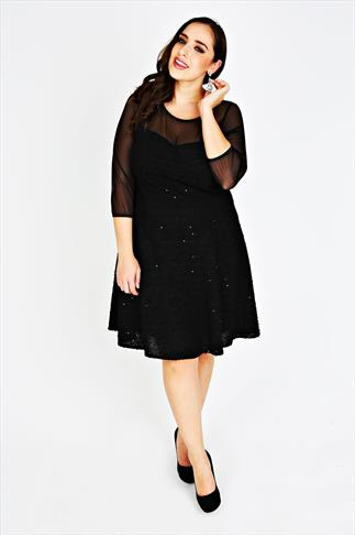 SCARLETT & JO Black Sequin Fit And Flare Dress With Mesh Yoke