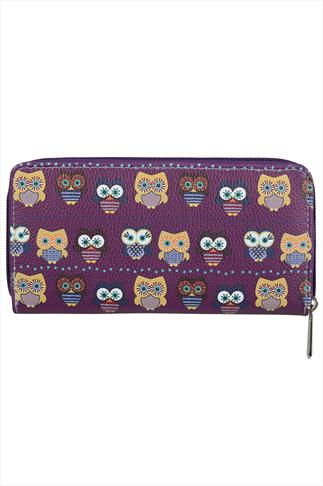 Purple High Shine Owl Print Zip Purse