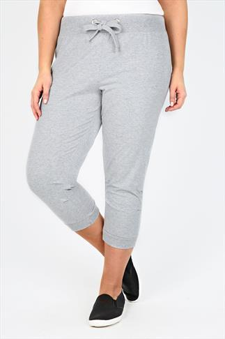 Grey Crown Embroidered Cuffed Crop Jogger