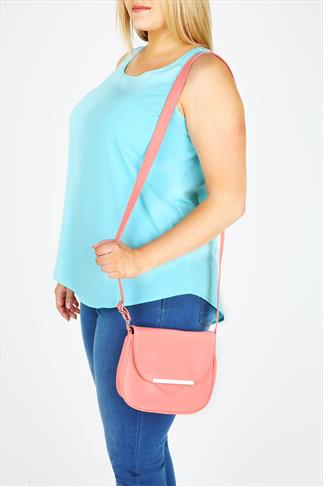 Coral PU Across The Body Bag With Metal Strip Detail