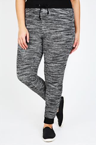 Grey & Black Cuffed Joggers With Elasticated Waist