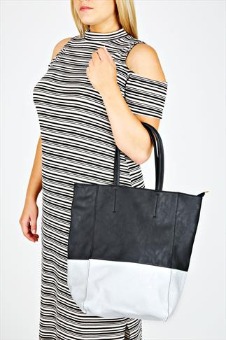 Black PU Shopper Zip Bag With Block Silver Detail