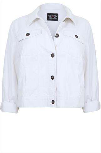 White Denim Western Jacket With Long Sleeves