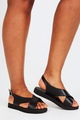 Black Cross Over Flat Sling Back Sandals With Silver Buckle In EEE Fit