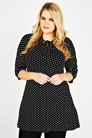 Black & White Polka Dot Longline Swing Top With Soft Neck Tie