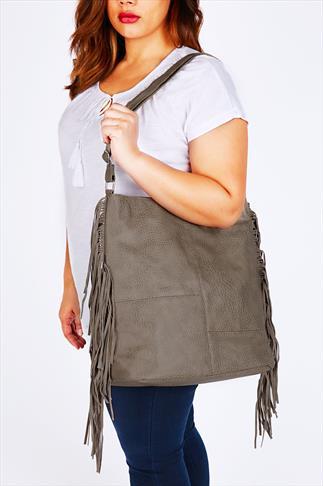Taupe Shoulder Bag With Side Tassel Detail