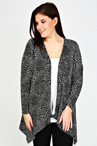 Black And White Monochrome Print Waterfall Jersey Cardigan