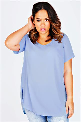 Powder Blue V-Neck Chiffon Top With Pleat Back And Dipped Hem
