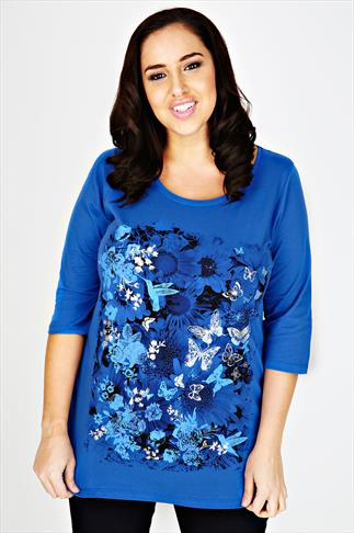 Blue 3/4 Sleeve Top Dipped Hem & Humming Bird Print