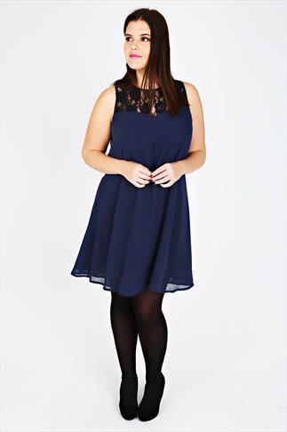 Navy Sleeveless Swing Dress With Lace Yoke