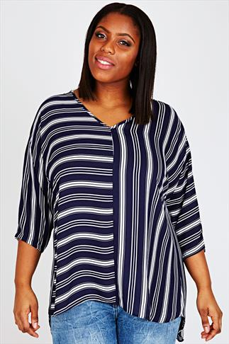 Navy & White Striped Wrap Back Top With 3/4 Sleeves