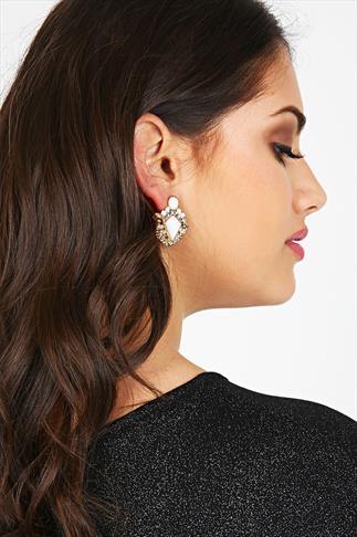 Gold Tone White Diamond Point Statement Earrings
