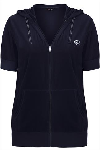 Navy Zip Up Short Sleeved Velour Hoodie With Crown Detail