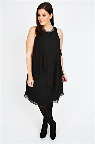 Black Layered Swing Dress with Neck Embellishment