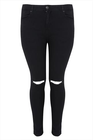 Black Stretch Skinny Jeans With Ripped Knee