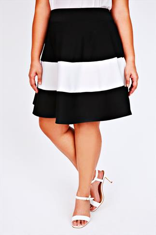 Black & White Colour Block Wide Stripe Skater Skirt