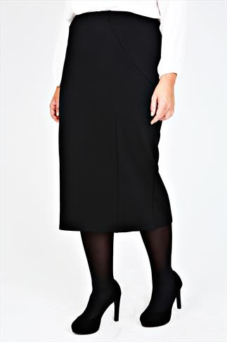 Black Textured Panel Pencil Midi Skirt With Elasticated Waist