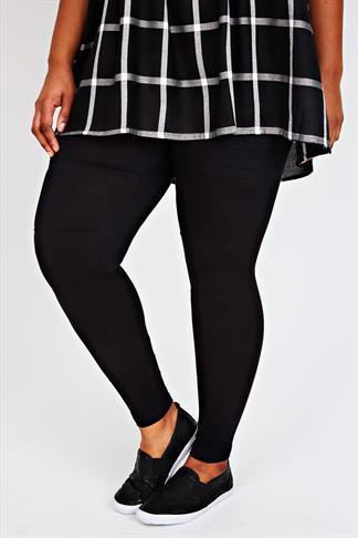 Black Biker Pintuck Stitch Detail Cotton Elastane Leggings