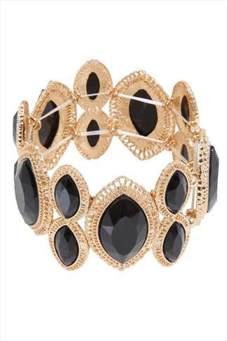 Gold Filigree & Black Oval Stone Stretch Bracelet