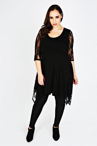 SCARLETT & JO Black Tunic Dress With Lace Detail
