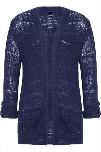 Blue Edge to Edge Knitted Cardigan With Roll Up Sleeves