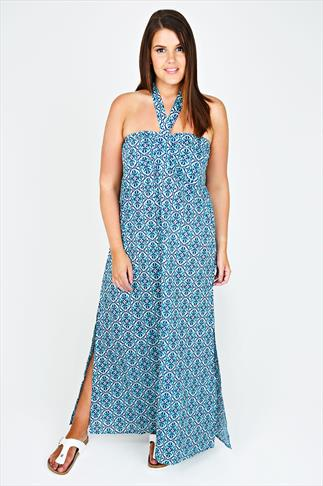 Turquoise Halter Neck Tile Print  Maxi Dress