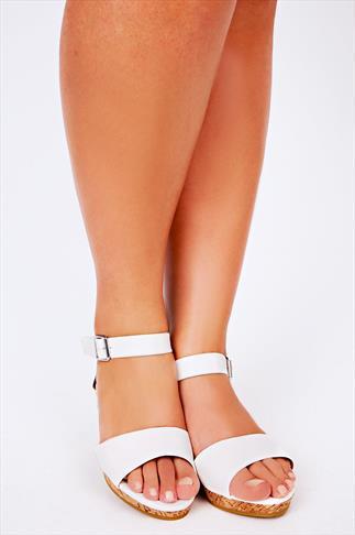 White High Cork Wedge Sandal In EEE Fit