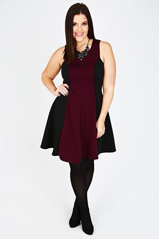 Wine & Black Colour Block Sleeveless Skater Dress