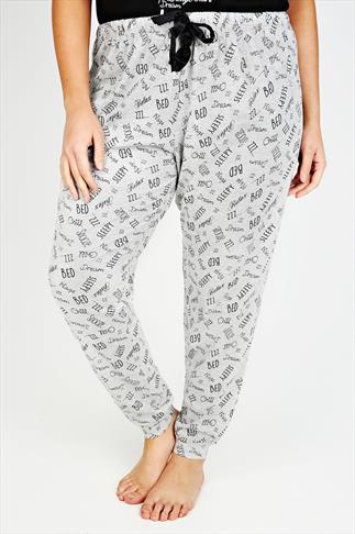 Grey Printed Full Length Cuffed Pyjama Bottoms
