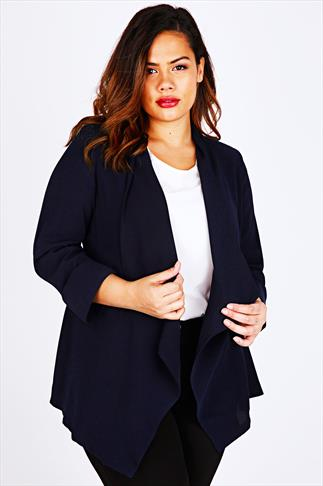 Navy Waterfall Crepe Jacket With 3/4 Rolled Sleeves