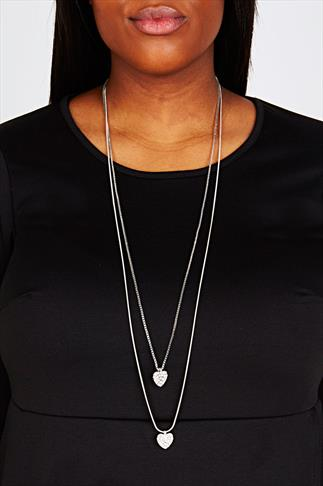 Silver Double Chain Diamante Heart Necklace