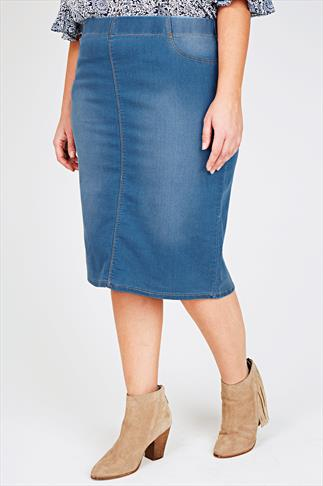 Mid Blue Denim Pull On Midi Pencil Skirt